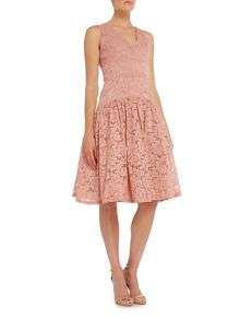 Little Mistress Sleeveless Lace Dropped Hem Dress