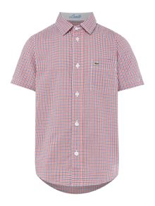 Lacoste Boys Short Sleeve Gingham Check Shirt