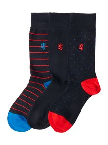 Pringle 3 Pack Dot and Wide Stripe Sock