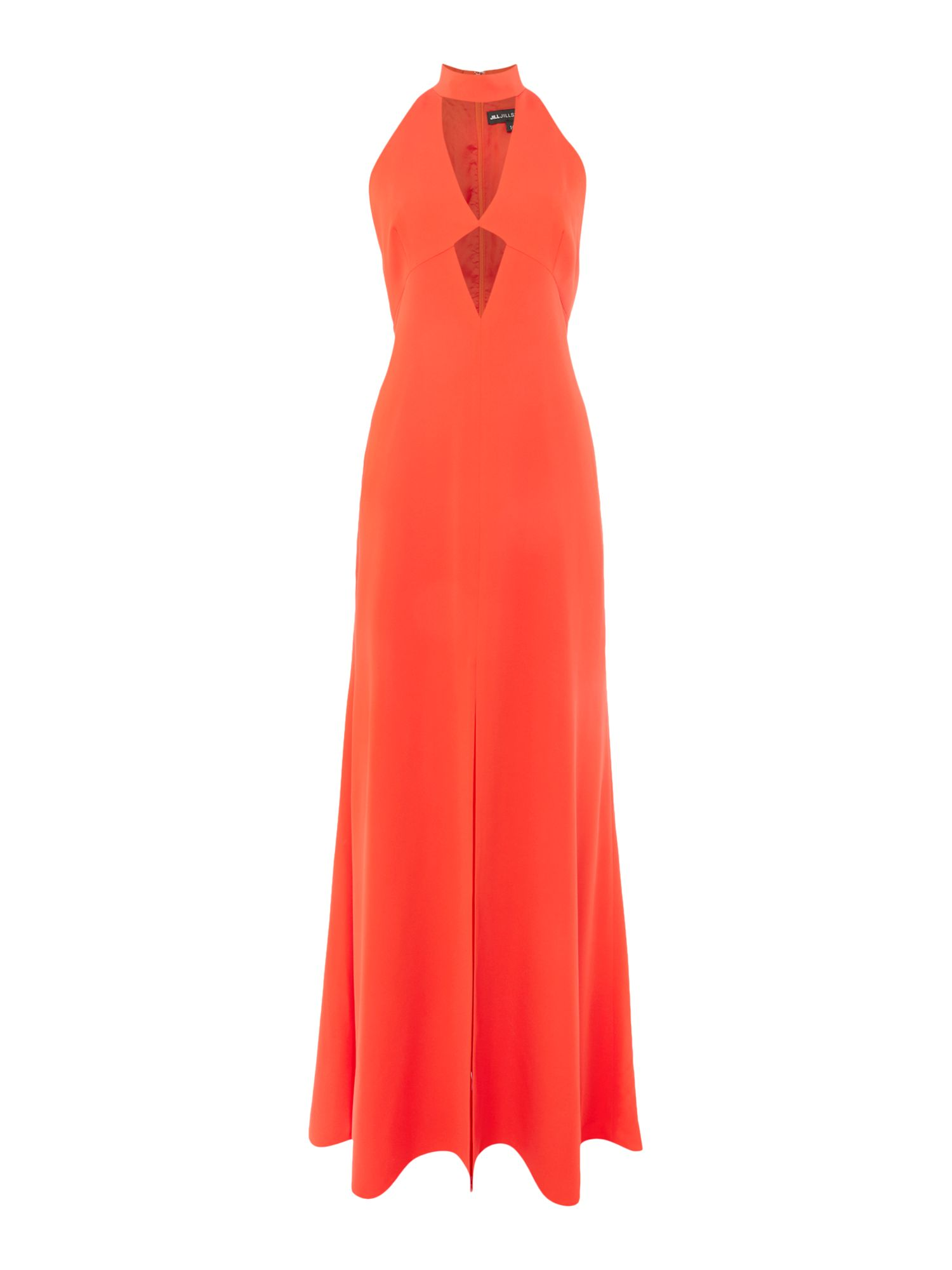 Jill Jill Stuart V neck cut out gown with neck tie, Tangerine