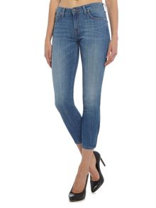 Lee Scarelet cropped jeans in blue monday