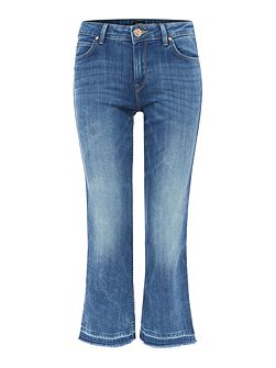 Skinny cropped bootcut jean in custom blue