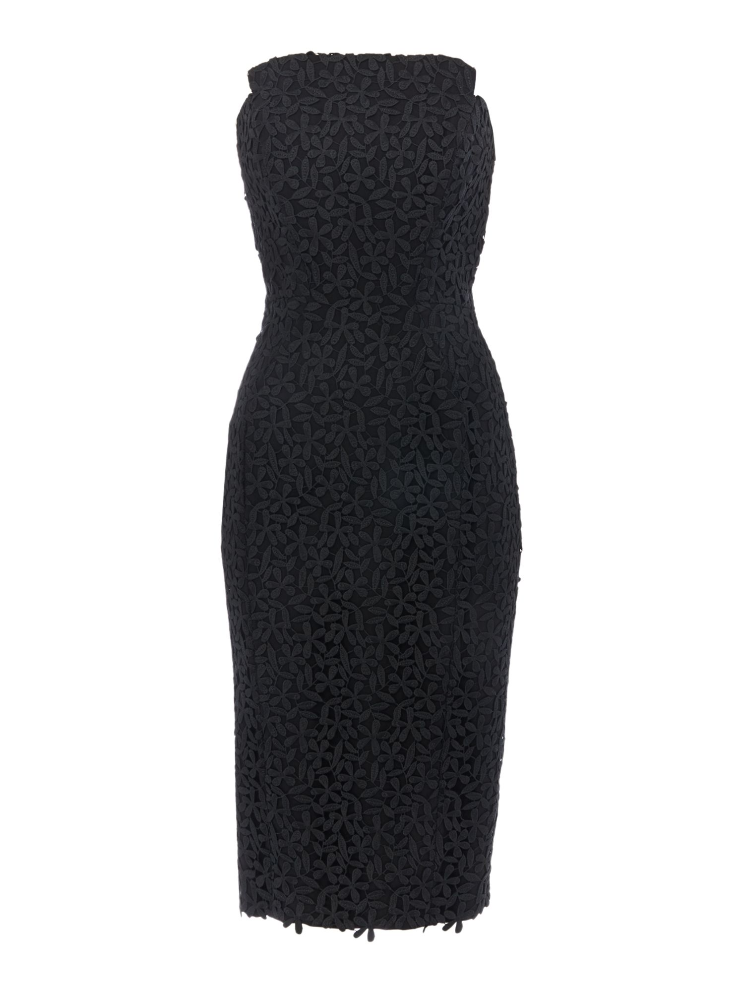 Jill Jill Stuart Strapless floral lace midi dress, Black