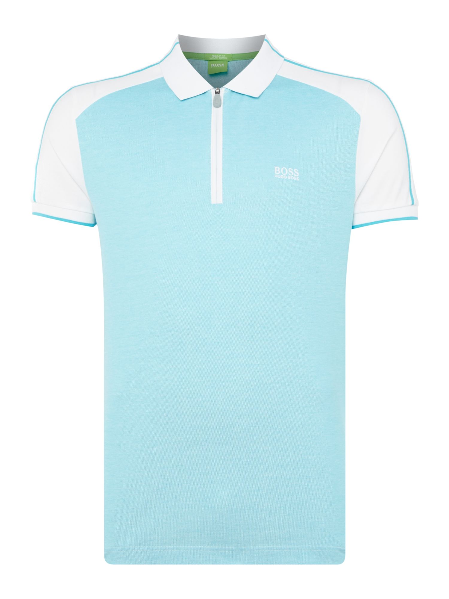 Mens Hugo Boss Philix regular fit zip neck polo shirt Turquoise