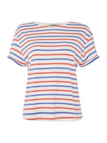 Lee Relaxed stripe tee top in workwear blue