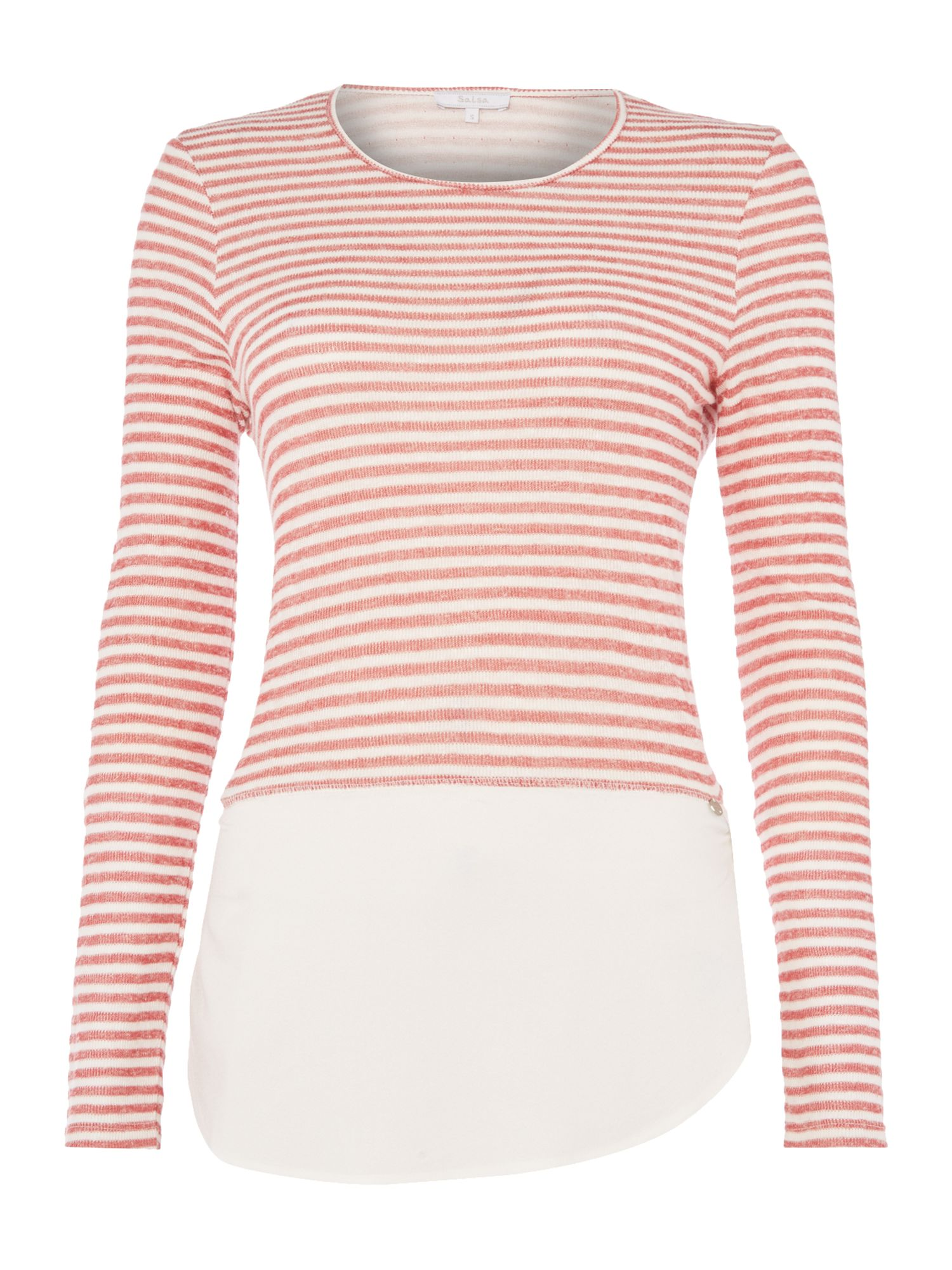 Salsa Long sleeve jersey top stripe detail in white, White
