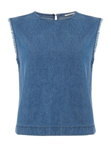 Lee Sleeveless woven blouse in washed blue