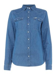 Lee Slim long sleeve western top in workwear blue