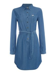 Lee Relaxed long sleeve shirt dress in flat mid