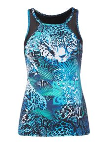 Biba Jungle jaguar vest top with mesh detail