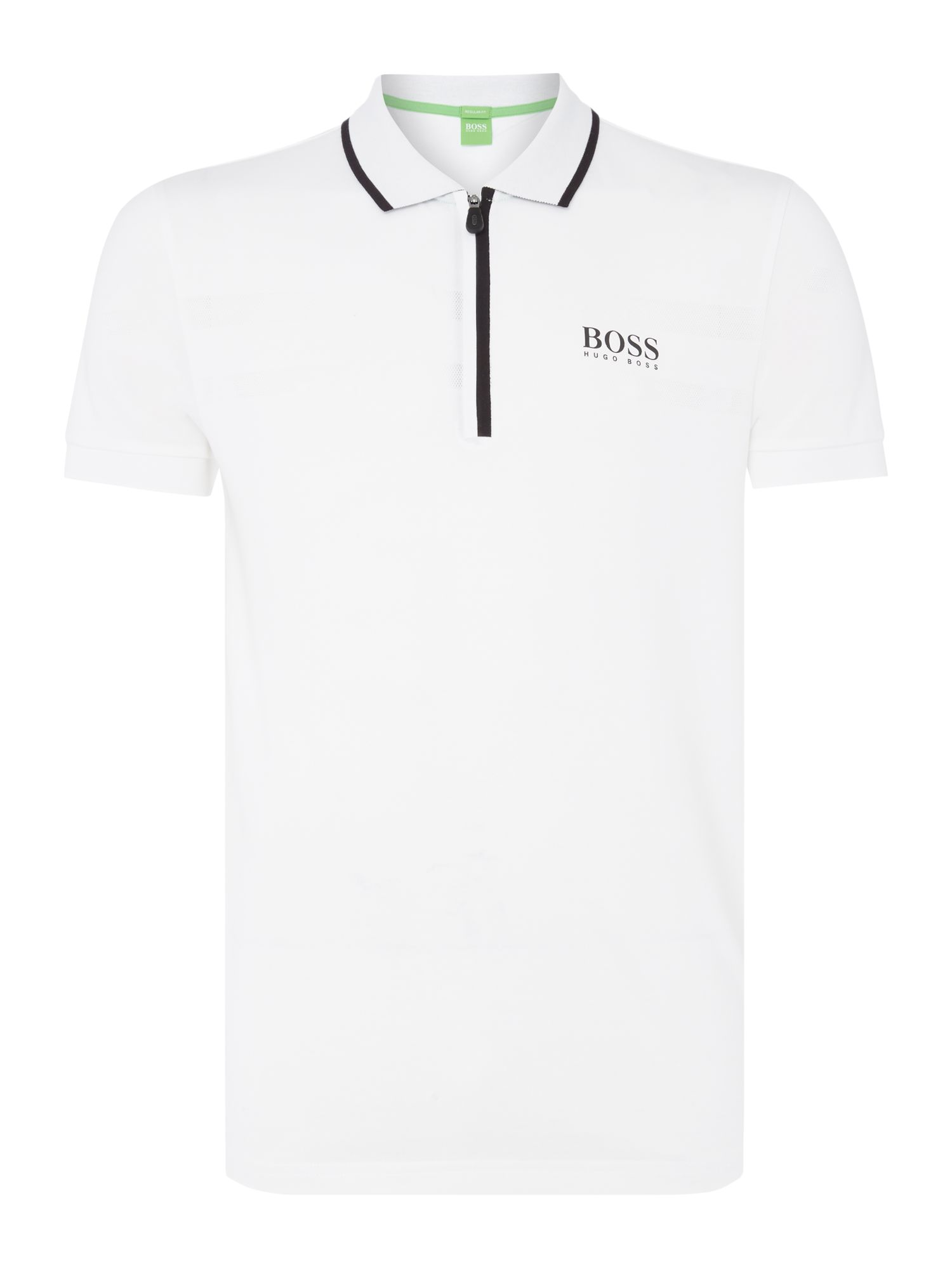 Mens Hugo Boss Golf pronghorn pro zip neck polo shirt White