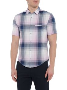 Hugo Boss C-bansino short-sleeve faded checked shirt