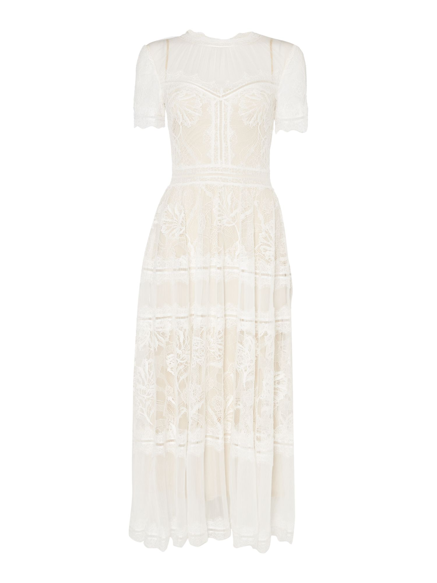 Tadashi Shoji Midi short sleeved lace tea dress, Cream