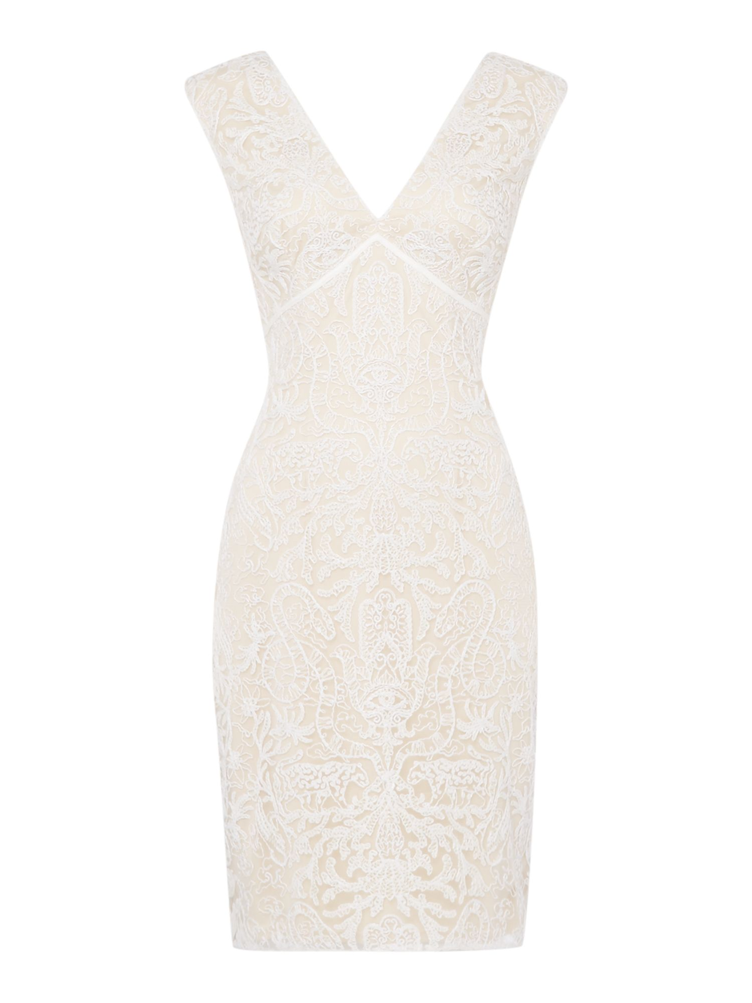 Tadashi Shoji Cap sleeved v neck lace shift dress, White