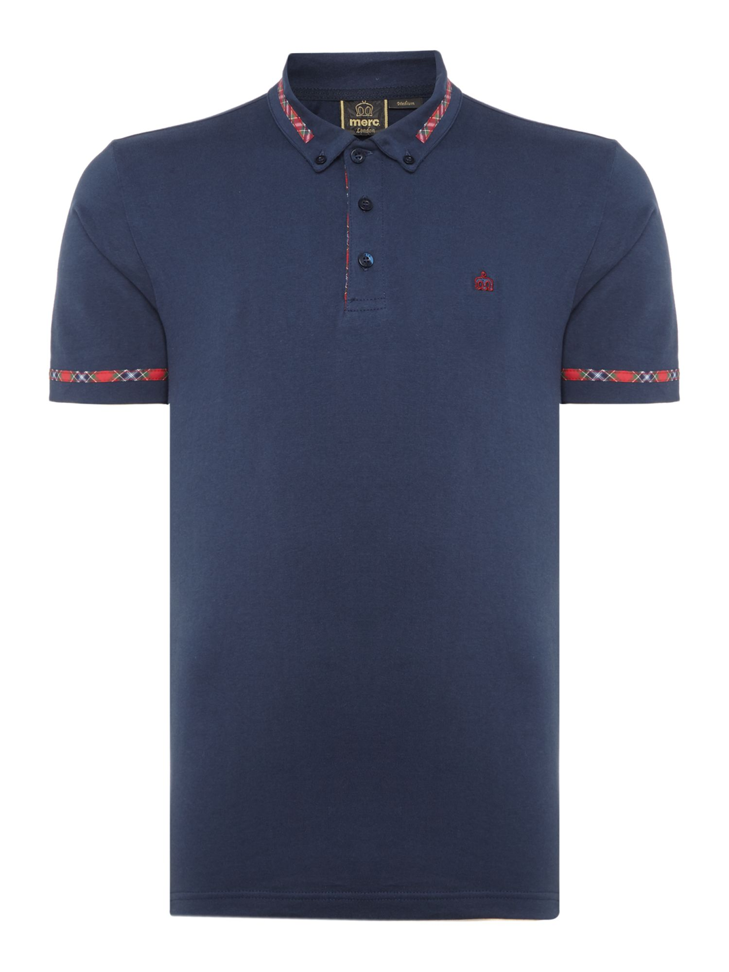 Men's Merc Ridge tartan trim polo short sleeve polo, Blue