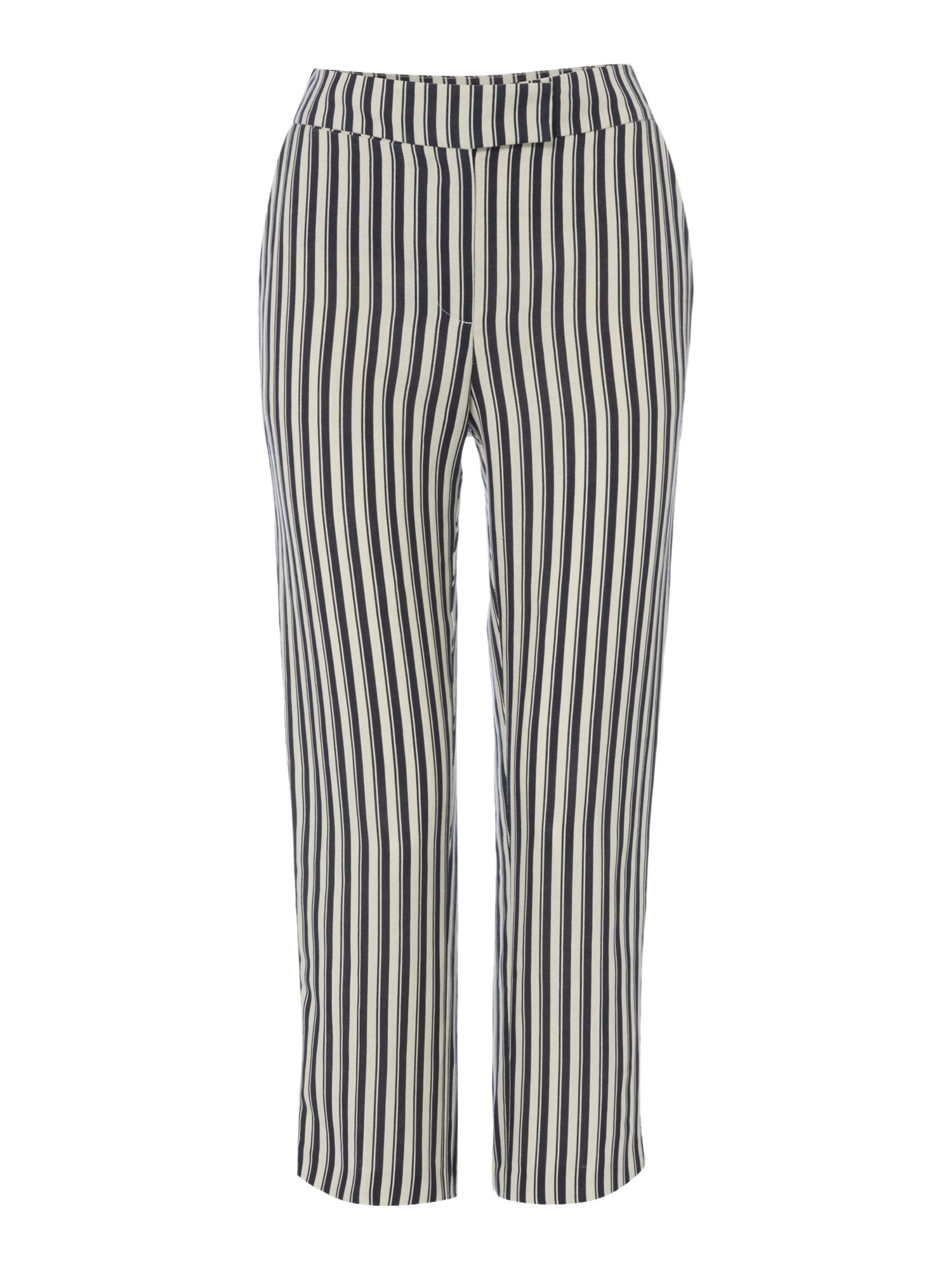 Linea Bela linen crop trouser, Blue Stripe