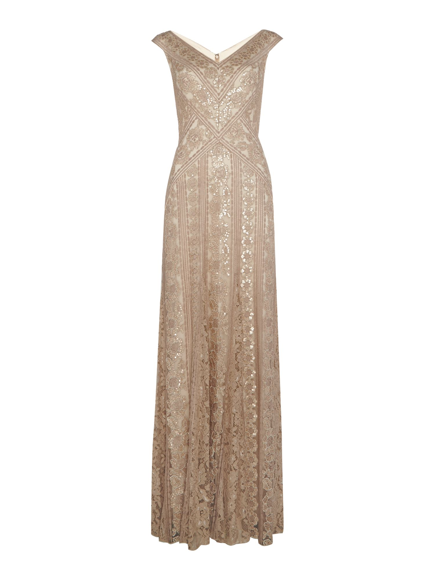 Tadashi Shoji V neck sequin gown with fish tail, Champagne