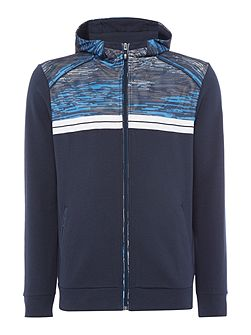 Samoo Digital Print Zip-Up Hooded Sweat Top