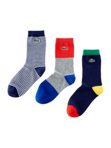 Lacoste Boys 3 Pack Stripe Logo Socks