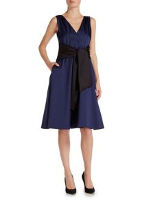 Ariella Sleeveless fit and flare dress with belt