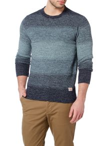 Jack & Jones Large-Stripe Crew-Neck Knitted Jumper