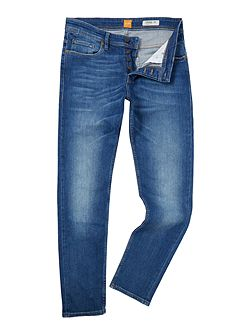 Orange 90 tapered fit mid wash jeans