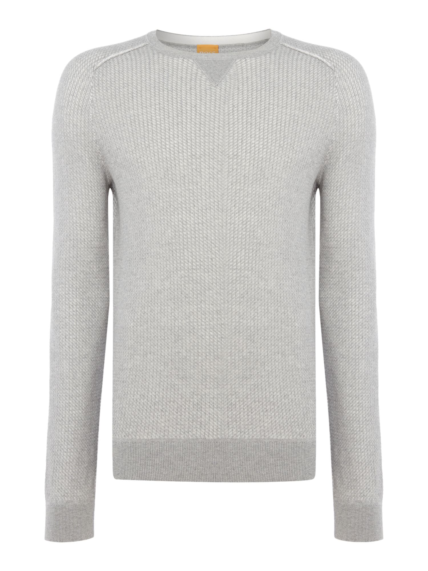 Mens Hugo Boss Kawanan crew neck textured knitted jumper Grey