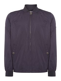 Lightweight raceway zip through bomber jacket