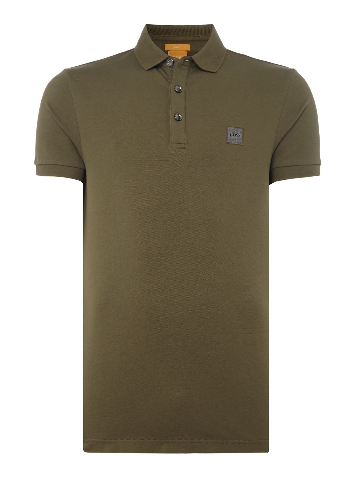 Men's Hugo Boss Pavlik slim fit patch logo polo shirt, Khaki