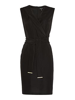 Structured ribbed lapel pencil dress
