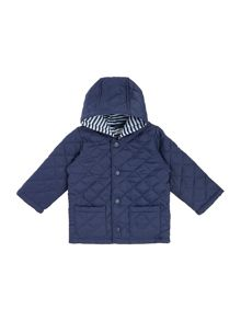Benetton Baby Stripe Lining Quilted Jacket With Hood