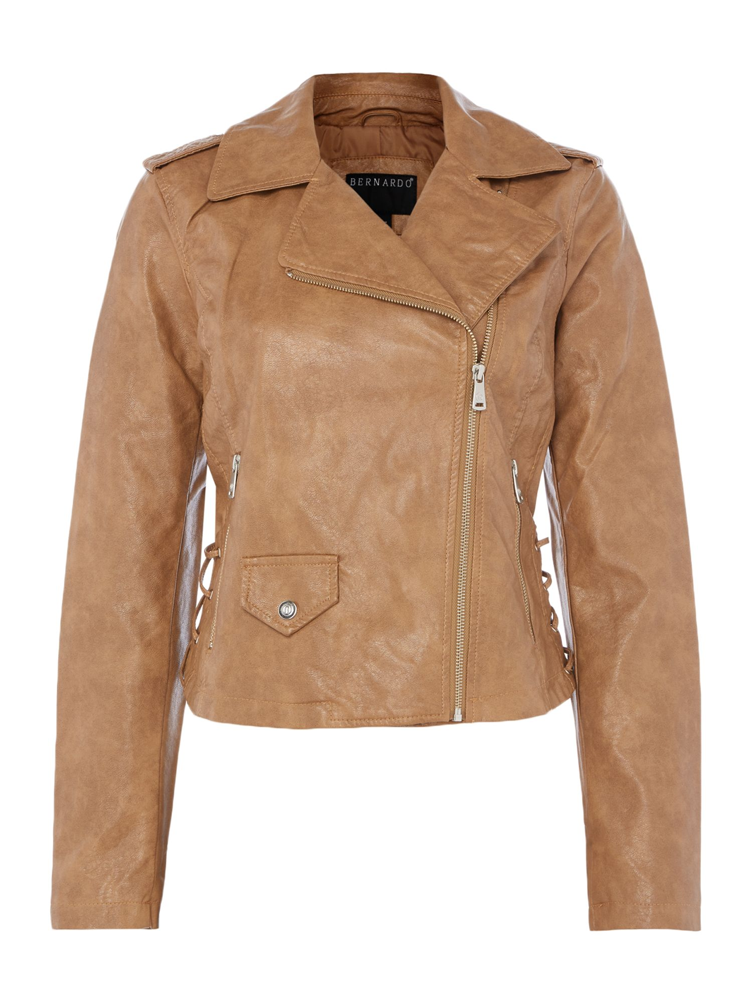 Bernardo Motor jacket with lace up panel, Tan
