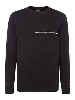 Front Zip Pocket Sweat Top