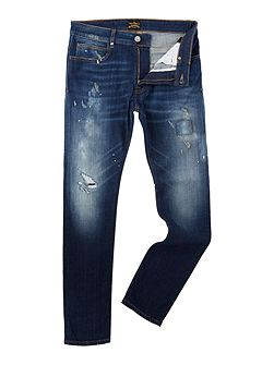 Don Karnage slim fit ripped blue jeans