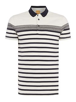 Promo regulsr fit striped slub polo shirt