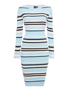 Lost Ink Longsleeve Stripe Ribbed Bodycon Dress