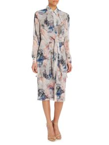 Lost Ink Longsleeve Print Tie Shirt Dress