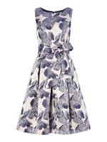 Eliza J FIT AND FLARE FLORAL PRINT WITH BELT
