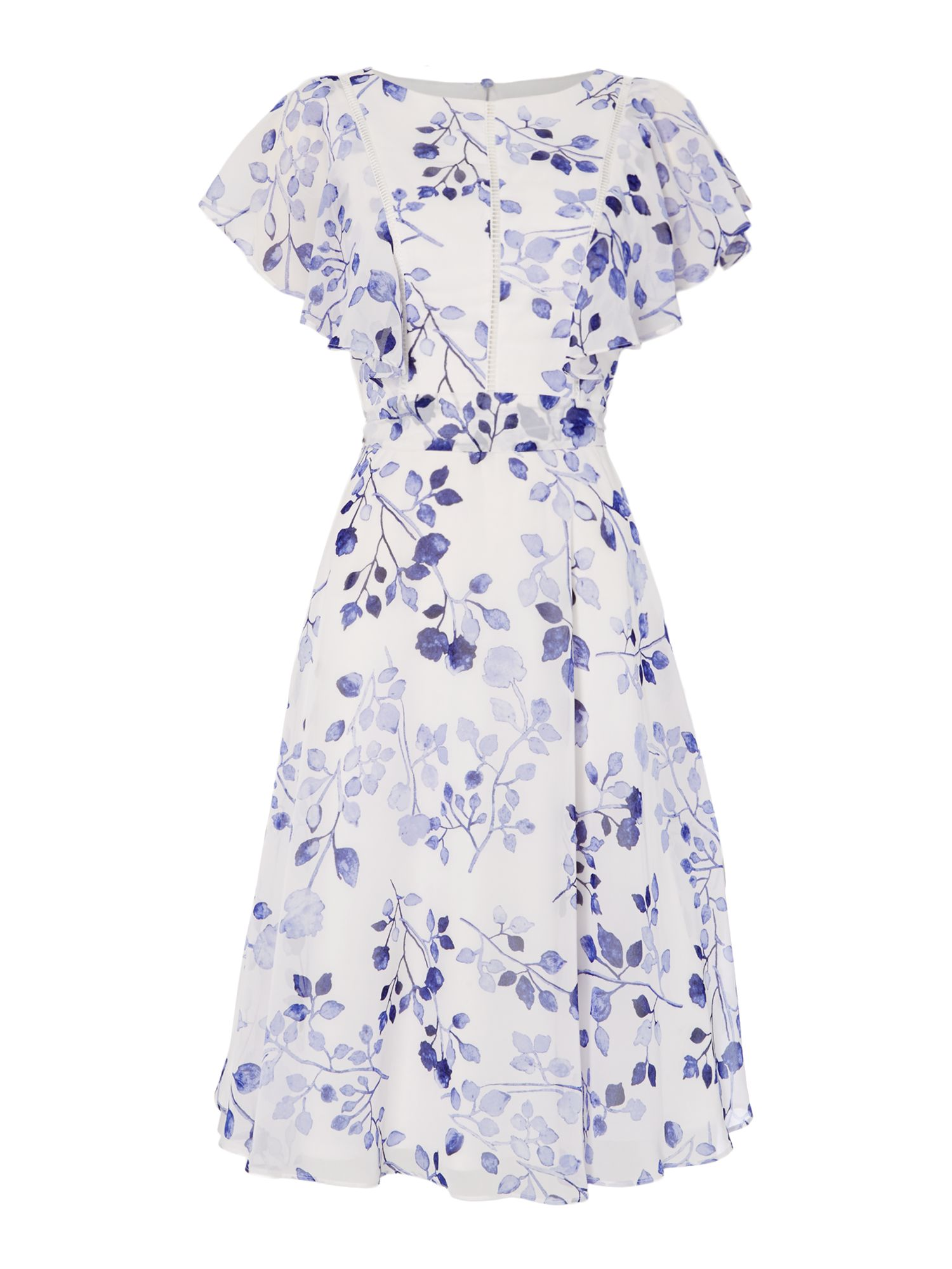 Eliza J FLORAL PRINT FILL SLEEVE DRESS, White