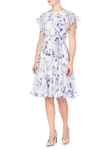Eliza J FLORAL PRINT FILL SLEEVE DRESS