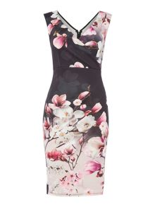 Jessica Wright Sleeveless V Neck Floral Bodycon Dress