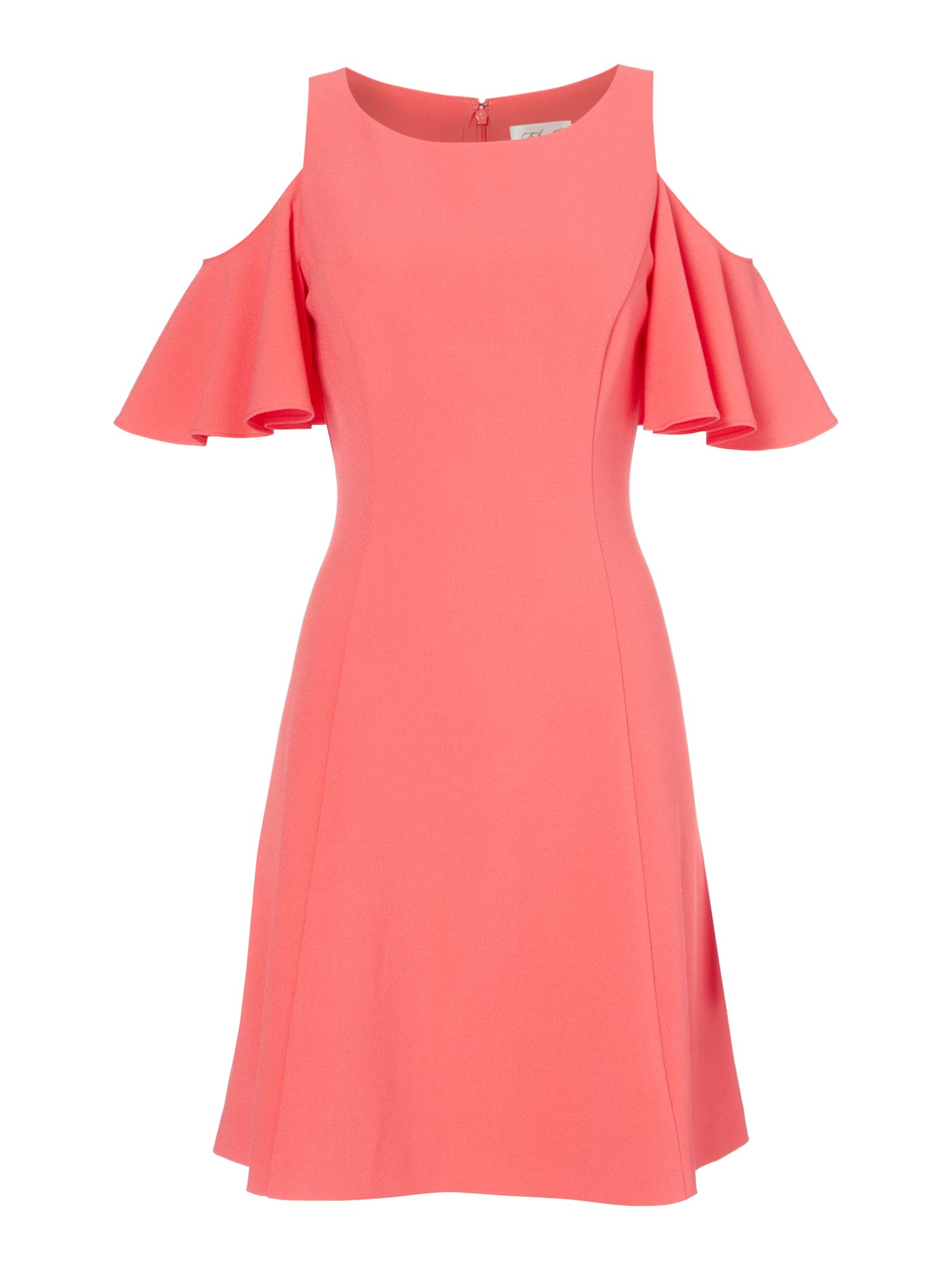 Eliza J Fit and flare cold shoulder dress, Coral