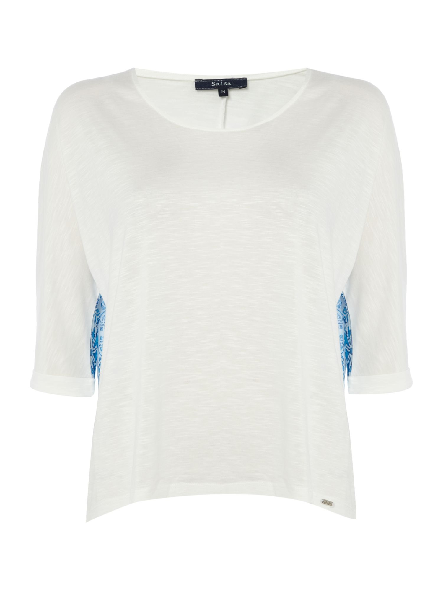 Salsa Jersey top with printed back in white, White
