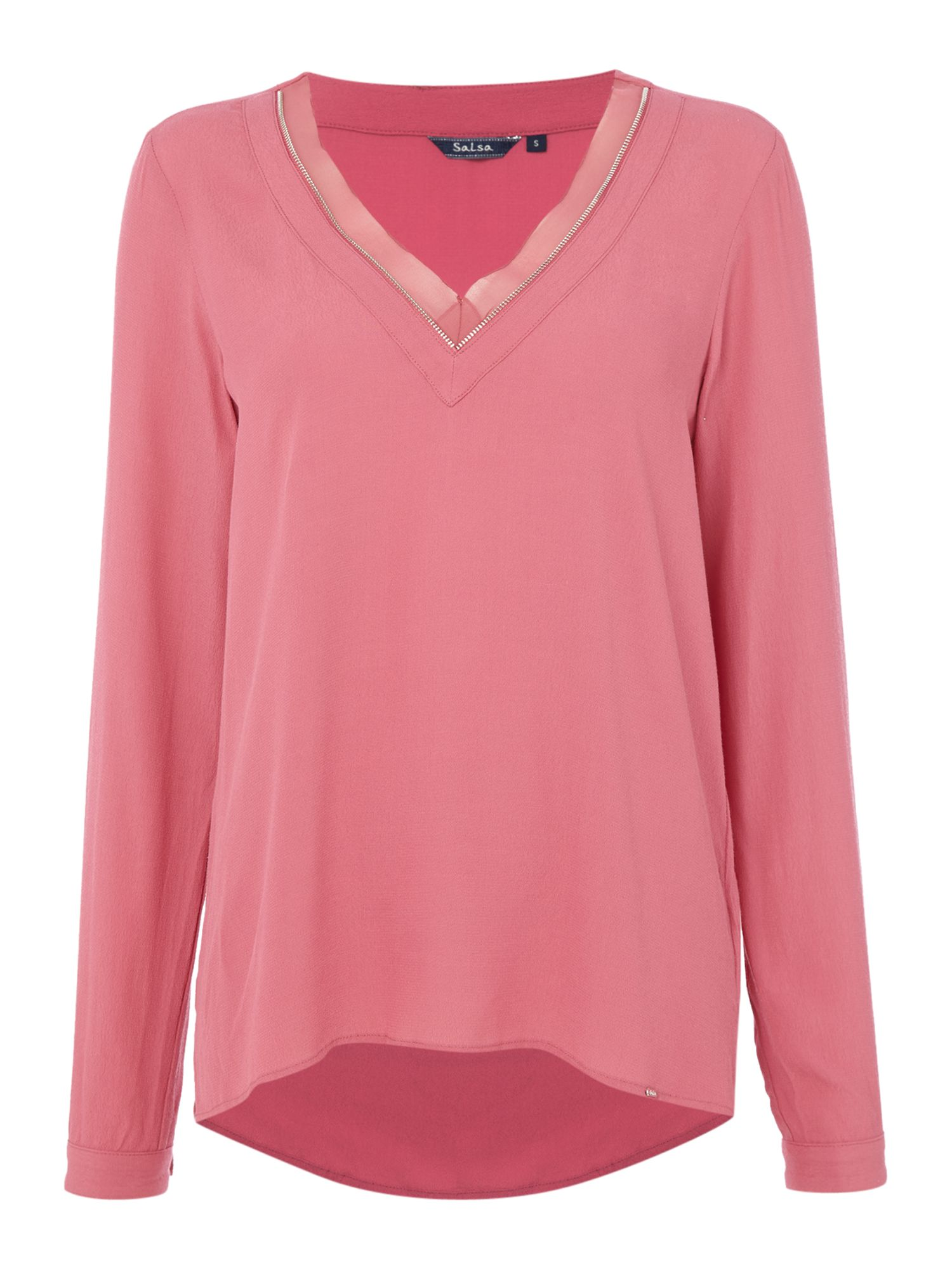 Salsa Long sleeve v neck tunic in pink, Pink