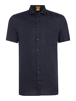 Slim fit linen cutaway collar short-sleeve shirt