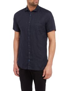 Hugo Boss Slim fit linen cutaway collar short-sleeve shirt