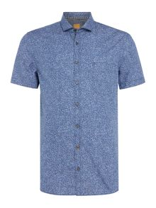 Hugo Boss Floral print cutaway collar short-sleeve shirt