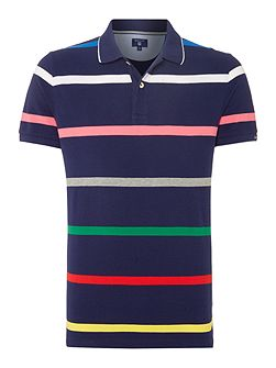 Stripe Short Sleeve Cotton Jersey Polo-Shirt