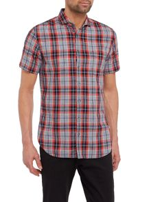 Hugo Boss Cutaway collar checked short-sleeve shirt