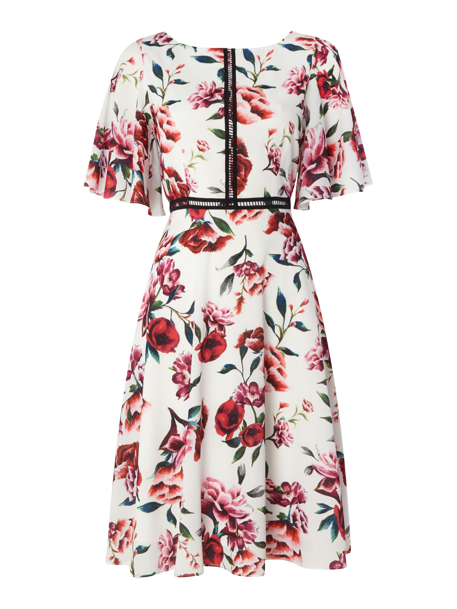 Ariella Short sleeved floral midi dress, Multi-Coloured
